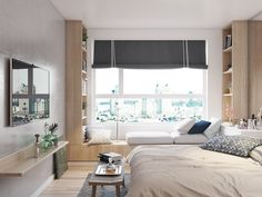 Random Apartment on Behance Condo Interior Design, Small Apartment Interior, Apartment Design, Interior Decorating, Room Design Bedroom, Modern Bedroom Design, Home Decor Bedroom, Small Room Design, Minimalist Bedroom