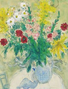 """trem-das-cores65: """"Marc Chagall (1887-1985)Fleurs dans un vase bleu1936 """""""