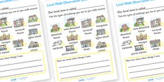 Local Walk Observation Sheets (Houses and Homes) Primary Teaching, Primary Education, Primary School, Kids Education, Teaching Resources, Teaching Ideas, Area Worksheets, People Who Help Us, Local Studies
