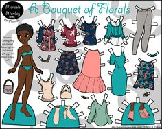 Printable paper doll of a young black woman with an afro and a contemporary wardrobe