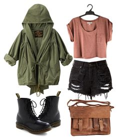 """""""Untitled"""" by hanaglatison ❤ liked on Polyvore featuring Dr. Martens and Rowallan"""