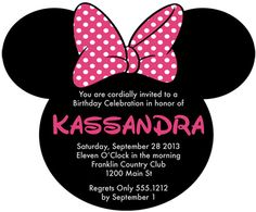 Minnie Mouse Inspired Birthday Party Invitations