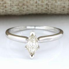 Plateforme de ventes aux enchères en ligne Catawiki : 14 kt White Gold 0.48 ct Diamond Ring, Size: 7