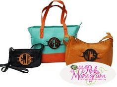 Bags with interchangeable acrylic monograms