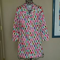 Super cute spring coat, Size 8 An adorable Sharon Young coat for unexpectedly cool spring and summer days! Cool mod print in pretty colors. 35 inches long from the shoulder. 97% cotton, 3% spandex. This is not a raincoat. Sharon Young Jackets & Coats