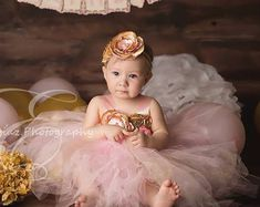 Gorgeous Light Pink and Gold Tutu Dress Satin Shabby Chic Flower Tutu Dress for Baby Girl Months old First Birthday Baby Birthday Themes, 1st Birthday Dresses, Gold Birthday, Flower Birthday, Birthday Ideas, Hot Pink Flowers, Chiffon Flowers, Satin Flowers, Baby Tutu Dresses