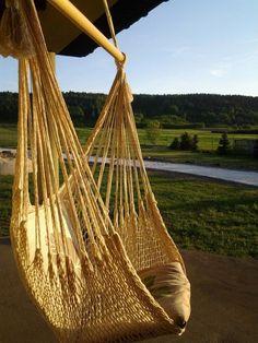 Huśtawka hamakowa na ręcznie plecionych bawełnianych sznurkach