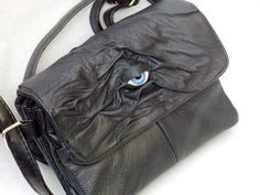 Black Leather Messenger Bag Purse Handbag Witch by pippenwycks, $45.00