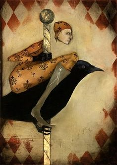 fitcher by Michele Mikesell Illustrations, Illustration Art, Pierrot Clown, Blackbird Singing, Crows Ravens, Surreal Art, Bird Art, Sculpture, Art Images