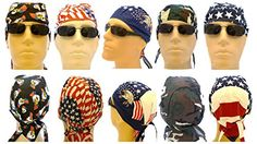 Set of 5 Biker #Caps aka: Bandanna Wraps, Doo Rags, Skull Caps, Du Rags, Pirate Caps. Camouflage, American Flag, Stars and Stripes, Bald Eagle. Caps comes with a...