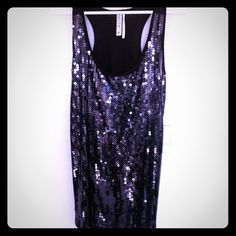 Sequin front top Eggplant purple, sequin front tank top. Beautiful piece! Never worn! New Without Tags. Tops Tank Tops