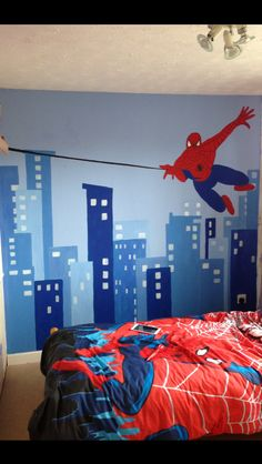 Spiderman color palette caleb 39 s super hero room for Boys spiderman bedroom ideas