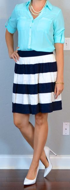 Outfit Posts: outfit post: teal camp shirt, navy & white striped skirt, white pumps