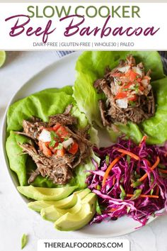 Slow Cooker Beef Barbacoa - The Real Food Dietitians Gluten Free Recipes For Dinner, Paleo Dinner, Good Healthy Recipes, Whole 30 Recipes, Paleo Recipes, Real Food Recipes, Paleo Food, Entree Recipes, Healthy Eats