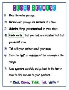 CLOSE READING ANCHOR CHART/ STUDENT REFERENCE PAGE - TeachersPayTeachers.com