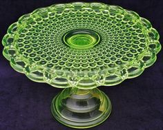 *VASELINE GLASS:  Beautiful Antique, Thousand Eye Pattern Pedestal Cake Plate Stand