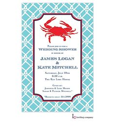 Inviting Company Preppy Crab Invitation available from NoteWorthyNC.com