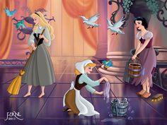 Work of the Princesses: Aurora (Briar Rose), Cinderella & Snow White Artwork by Fernl