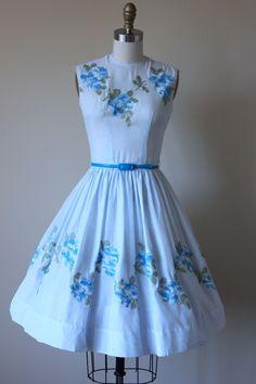 6b51a3149c3c2f 50s Dress - Vintage 1950s Dress - Blue Rose Embroidered Voile Garden Party  Dress XS - Fondest Desire Dress