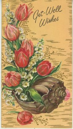 VINTAGE PINK RED TULIPS WHITE LARKSPUR FLOWERS SEA SHELLS CHEER CARD LITHO PRINT