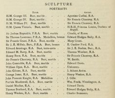 List of Sculpture portraits at the Royal Academy. From The Royal Academy and its members 1768-1830 by Hodgson, J. E. (John Evan), 1831-1895; Eaton, Frederick Alexis Published 1905. Publisher London : John Murray