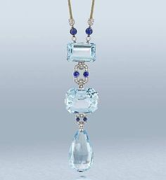 Something blue? This amazing Cartier vintage diamond and sapphire necklace sold for 216,00 pounds #vintage Jewelry Jewellery www.finditforweddings.com