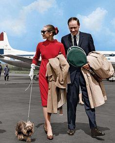 Audrey and her husband Mel Ferrer arriving in Switzerland