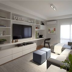 Living Room Tv Wall Built Ins Cabinets 62 Ideas For 2019 Living Room Tv, Apartment Living, Home And Living, Home Office Design, Home Interior Design, Interior Stairs, Small Apartments, Small Spaces, Muebles Living