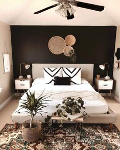 Home Interior Salas .Home Interior Salas Room Ideas Bedroom, Home Decor Bedroom, Bedroom Designs, Paint Ideas For Bedroom, Bright Bedroom Ideas, Black Bedroom Decor, White Wall Bedroom, Feature Wall Bedroom, Cheap Bedroom Decor