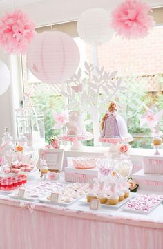 light pink baby shower party decor inpsiration