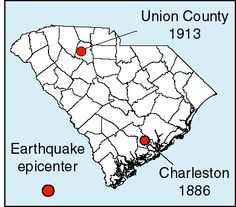 January 1, 1913 - Twenty-seven years after the 1886 Charleston earthquake and subsequent after shocks, another strong earthquake occurred in Union County, S.C. With an estimated magnitude of 5.5, shock waves moved out from the western portion of South Carolina into adjacent states and even up into parts of Virginia.   Fortunately, damage was minimal and no deaths resulted.  This event is significant because it demonstrates that large, destructive earthquakes can occur in the Piedmont region.