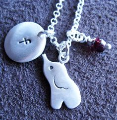 Personalized elephant sterling silver  pendant necklace  with birth stone, baby shower gift.