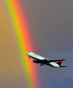 Salt Lake City Airport, Utah, USA  767 Rainbow Takeoff (by Gumpher (Adam Christensen))