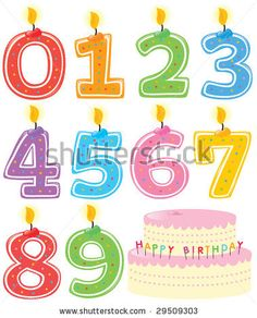stock vector : Numbered Birthday Candles and Cake Isolated