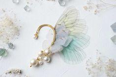 fairy wings pearl ear hook fairy ladders by fayfayjp on Etsy
