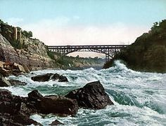 Whirlpool Bridge --crosses the Niagria River connecting Niagria Falls, New York and Niagria Falls, Ontario