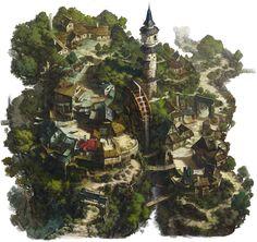 A mill village in the mountains, hee uk Jung on ArtStation at https://www.artstation.com/artwork/l6wwG