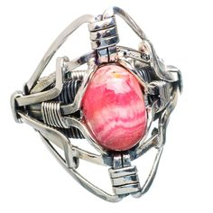 Huge Rhodochrosite 925 Sterling Silver Ring Size 6.5 RING762527