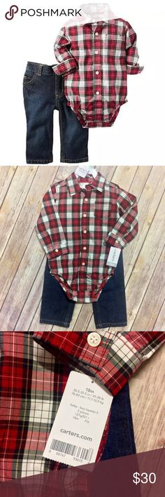"""Carters Western Plaid Button Down Bodysuit & Jeans Plaid cotton poplin offers the structure of a button-front shirt, yet stays soft and lightweight for a gentle touch. The pants complete this comfortable pair with cotton denim and authentic blue jeans style.  Sizing Info: 25 - 28 lbs. / 30.5"""" - 32.5"""" Materials: 100% Cotton Bodysuit: Point collar, button placket, long sleeves, patch pocket, snap bottom Jeans: Elastic waist, snap closure, zipper fly, straight leg, contrast stitching # of…"""
