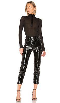 4fcfddaa4b DANIELLE GUIZIO Zip Up Knit Turtleneck Bodysuit im Black