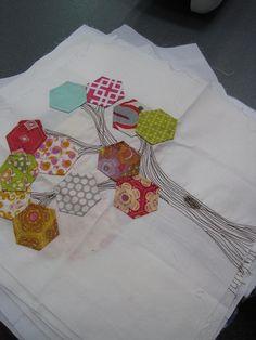 Hexagon Quilt Block Machine Embroidered Tree Pattern