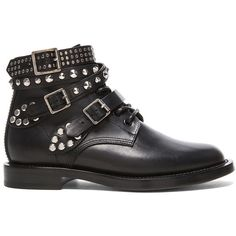 Saint Laurent Rangers Studded Low Combat Boots ($1,396) ❤ liked on Polyvore