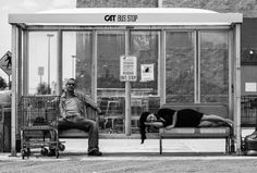 B/W Scenes at a Bus Stop by Ali Waxman