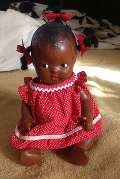 """Vintage African American Baby Composition Doll 10"""" Tall 