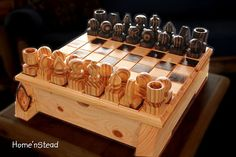 Hand Turned Wood Chess Set Classic Family Game by HomenStead, $250.00