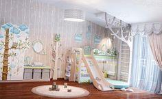 Детская комната для маленьких мальчика и девочки. Самые сложное в проектировании детских, это комнаты для двоих разнополых детей. Эта комната, оформленная в