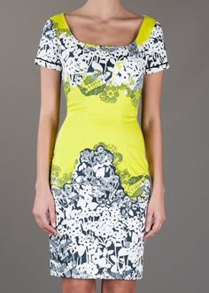 Yellow Short Sleeve Zipper Floral Bodycon Dress pictures