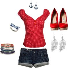 Rockabilly - Love this shirt and shoes. I don't wear shorts and it's too much jewelry for me but the anchor earrings are cute Pin Up Rockabilly, Rockabilly Outfits, Rockabilly Fashion, Retro Fashion, Vintage Fashion, Womens Fashion, Punk Fashion, Lolita Fashion, Look Retro