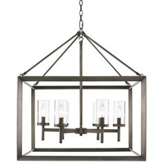 """For above the kitchen table - Smyth 26 3/4"""" Wide Gunmetal Bronze Cage Chandelier"""