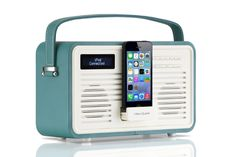 View Quest Retro Style ColourGen DAB / DAB+ FM Radio Speaker with 8 Pin Lightning Charging Dock Station for iPhone 5 5s 5c 6 & 6 Plus - Teal ( Wood Construction & Leather Effect Finish ): Amazon.co.uk: TV